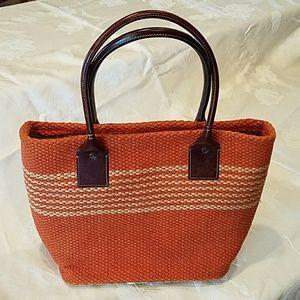 GAP Jute handbag with palm leaf trim.